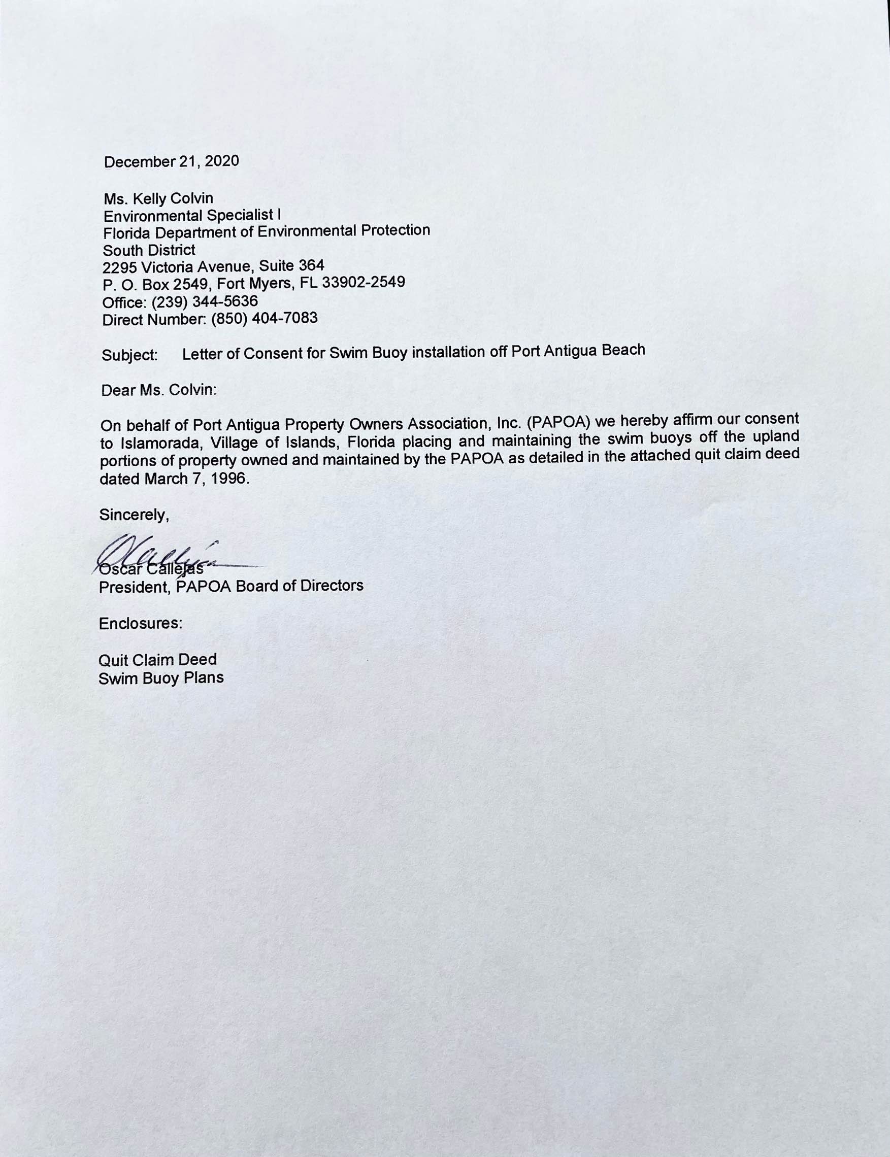 Picture of letter to FDEP