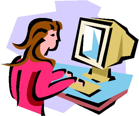 clipart of woman looking at computer