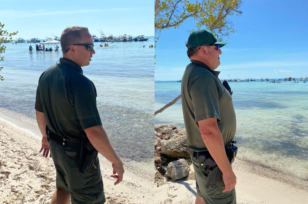 Deputies watch the beach